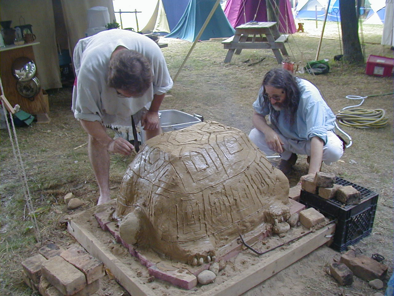 Fritz and Dov working on the big smoking turtle